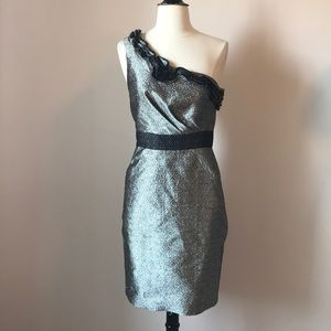 Maxandcleo Silver and Black One Shoulder Dress